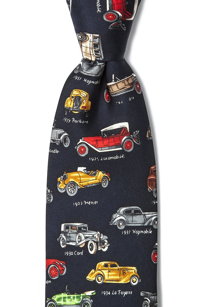 1920s Bow Ties | Gatsby Tie,  Art Deco Tie Antique Cars Tie by Alynn -  Navy Blue Silk $70.00 AT vintagedancer.com