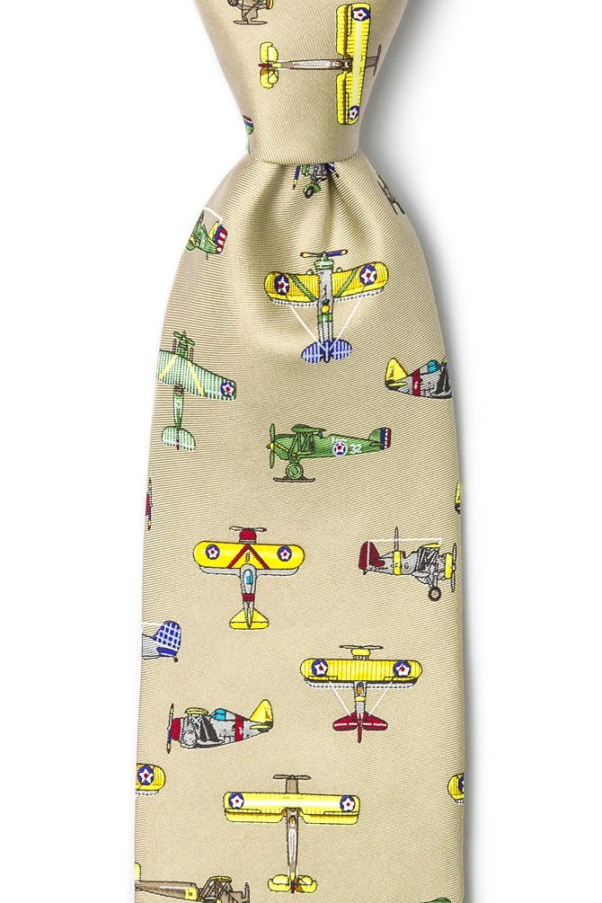 1940s Mens Ties | Wide Ties & Painted Ties Vintage US Warplanes Tie by Alynn -  Tantaupe Silk $70.00 AT vintagedancer.com
