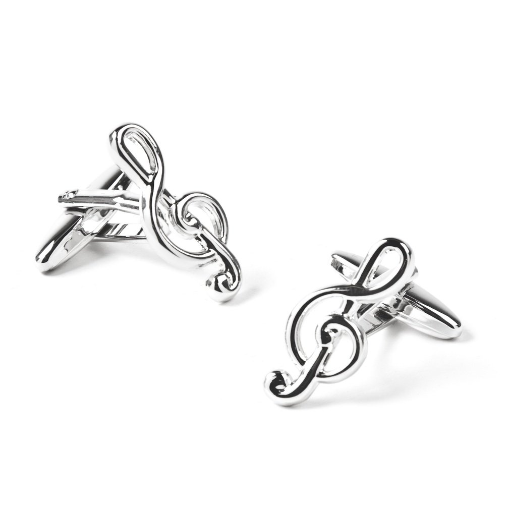 Treble Clef Cufflinks by Wild Ties -  Silver Metal