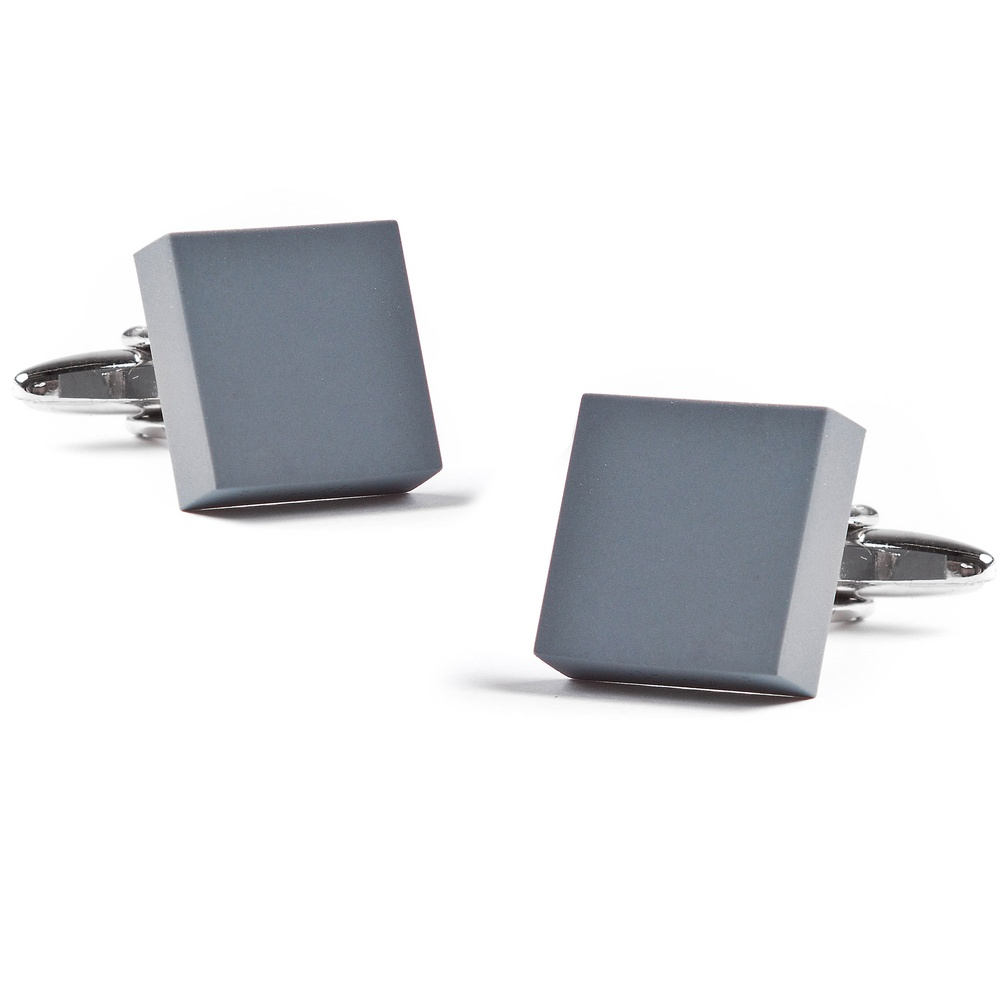 Matte Square Solid Cufflinks by Ties.com -  Gray Rhodium
