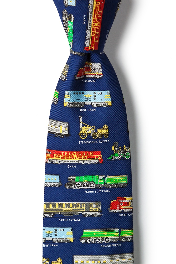 1950s Men's Clothing Derailed Tie by Alynn -  Navy Blue Silk $70.00 AT vintagedancer.com