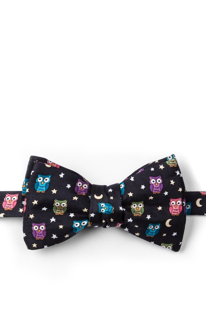 """Night Owl Self-Tie Bow Tie by Alynn Bow Ties -  Black Silk"""
