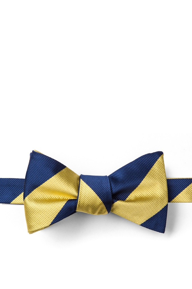 1920s Bow Ties | Gatsby Tie,  Art Deco Tie Navy  Gold Stripe Self-Tie Bow Tie by American Necktie Co. -  Navy Blue Microfiber $25.00 AT vintagedancer.com