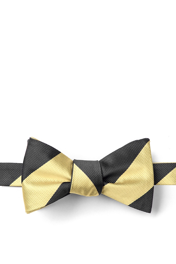 New 1930s Mens Fashion Ties Black  Gold Stripe Self-Tie Bow Tie by American Necktie Co. -  Black Microfiber $25.00 AT vintagedancer.com