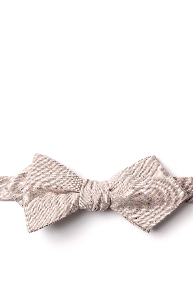 1950s Men's Clothing Teague Diamond Tip Bow Tie by Ties.com -  Beige Cotton $25.00 AT vintagedancer.com