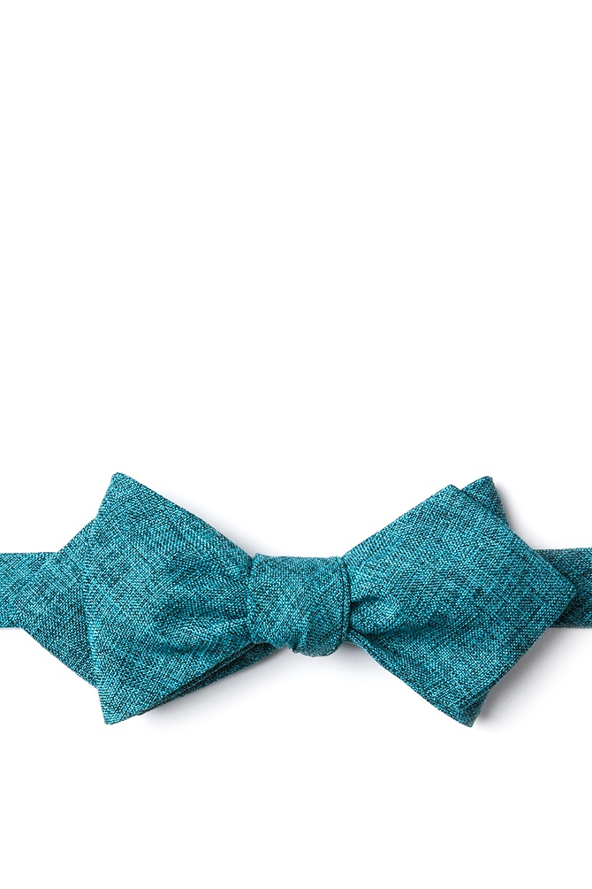1950s Men's Clothing Galveston Diamond Tip Bow Tie by Ties.com -  Turquoise Cotton $12.50 AT vintagedancer.com
