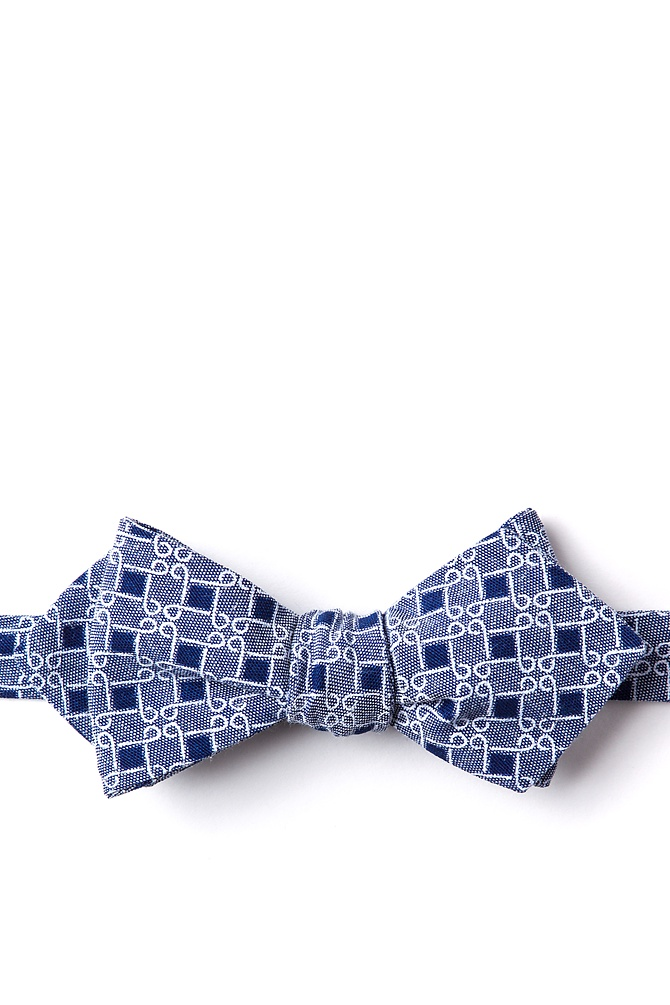 1950s Men's Clothing Jamaica Diamond Tip Bow Tie by Ties.com -  Navy Blue Cotton $12.50 AT vintagedancer.com