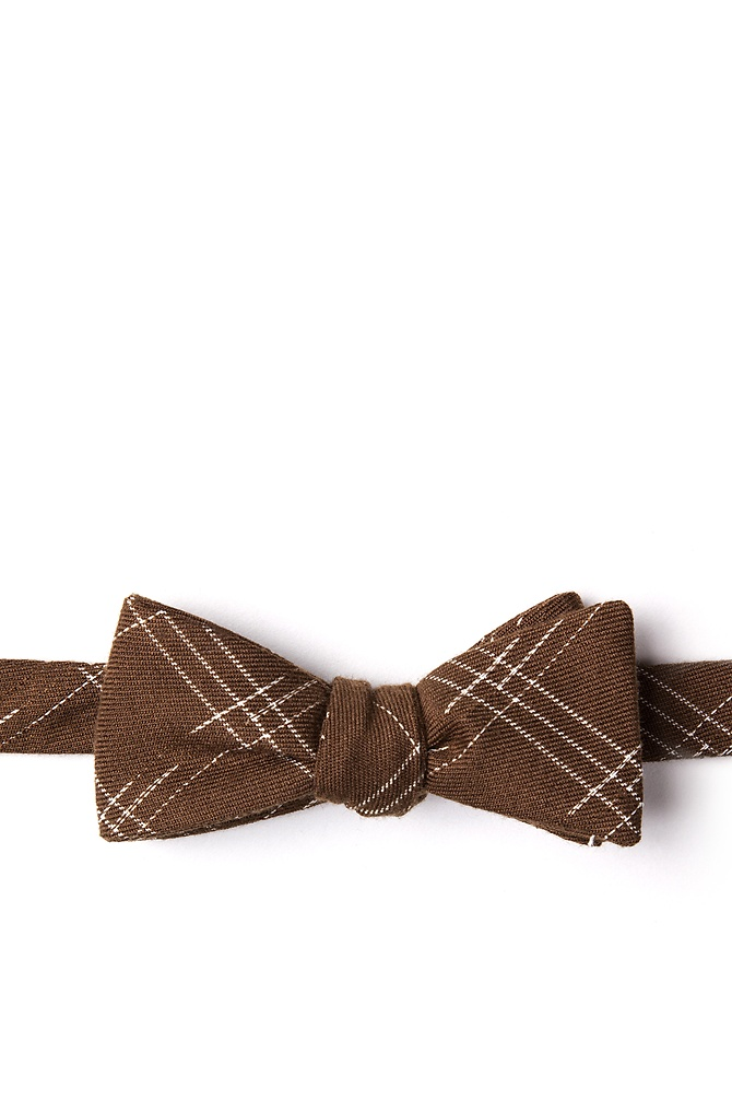 New 1930s Mens Fashion Ties Escondido Skinny Bow Tie by Ties.com -  Brown Cotton $12.50 AT vintagedancer.com