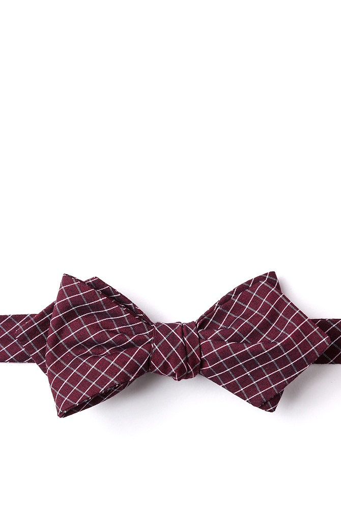New 1930s Mens Fashion Ties Holbrook Diamond Tip Bow Tie by Ties.com -  Burgundy Cotton $12.50 AT vintagedancer.com