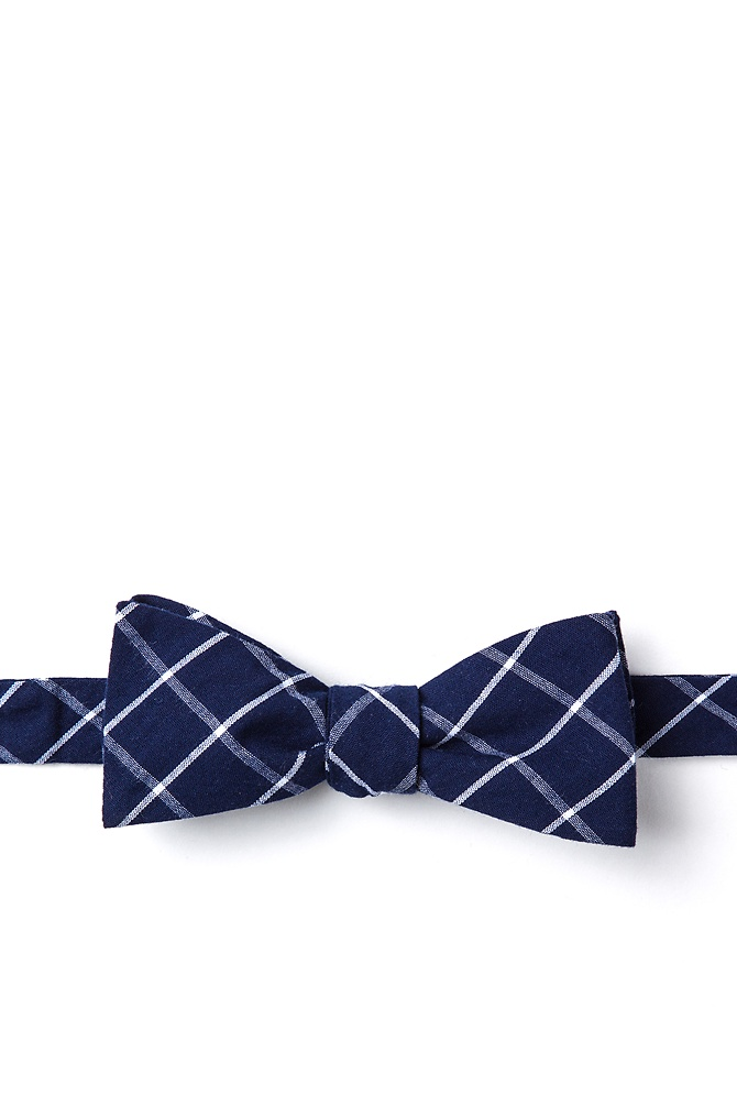 New 1930s Mens Fashion Ties Tucson Skinny Bow Tie by Ties.com -  Blue Cotton $12.50 AT vintagedancer.com