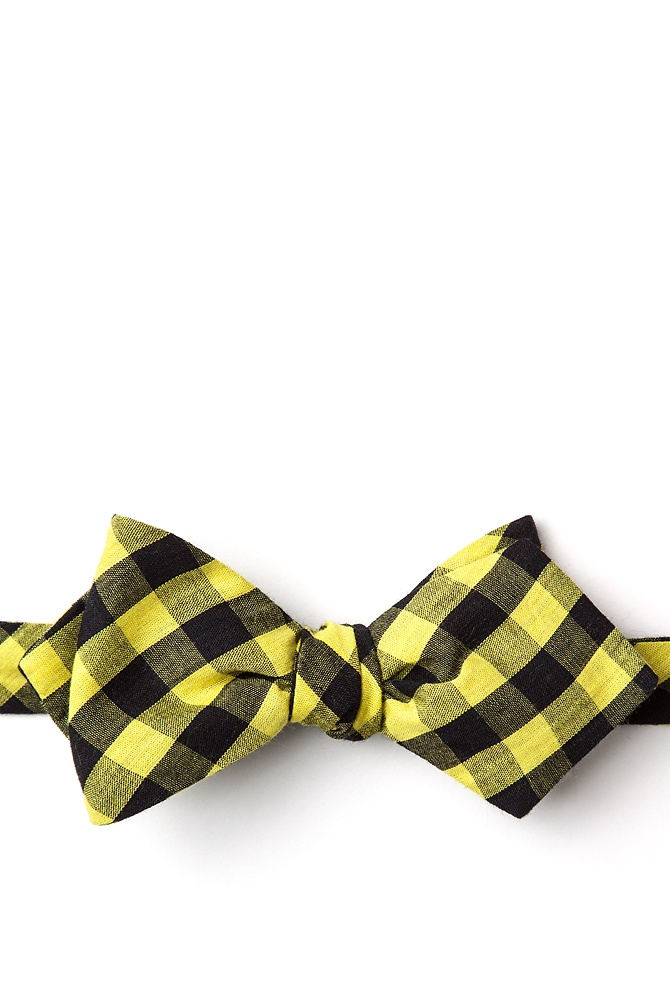 1950s Men's Clothing Pasco Diamond Tip Bow Tie by Ties.com -  Yellow Cotton $12.50 AT vintagedancer.com