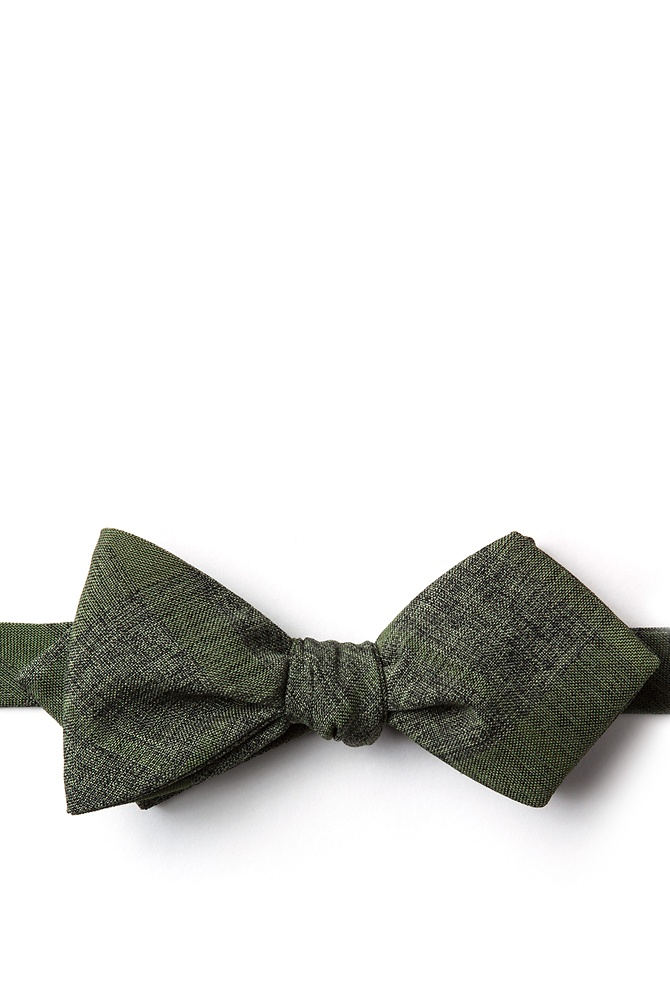 1920s Bow Ties | Gatsby Tie,  Art Deco Tie Kirkland Diamond Tip Bow Tie by Ties.com -  Olive Cotton $25.00 AT vintagedancer.com