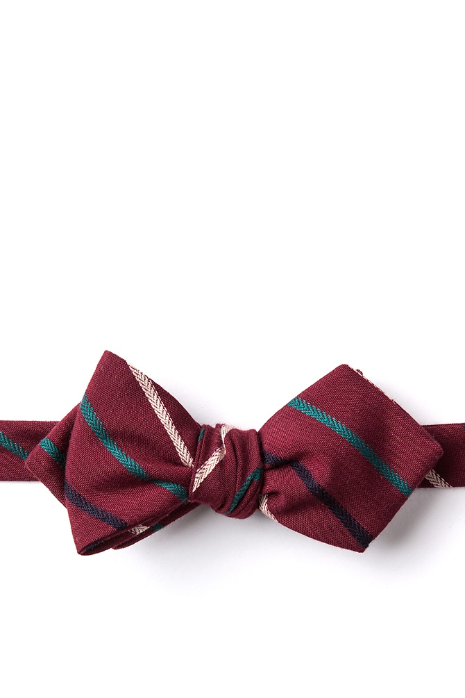 1950s Men's Clothing Houston Diamond Tip Bow Tie by Ties.com -  Burgundy Cotton $25.00 AT vintagedancer.com