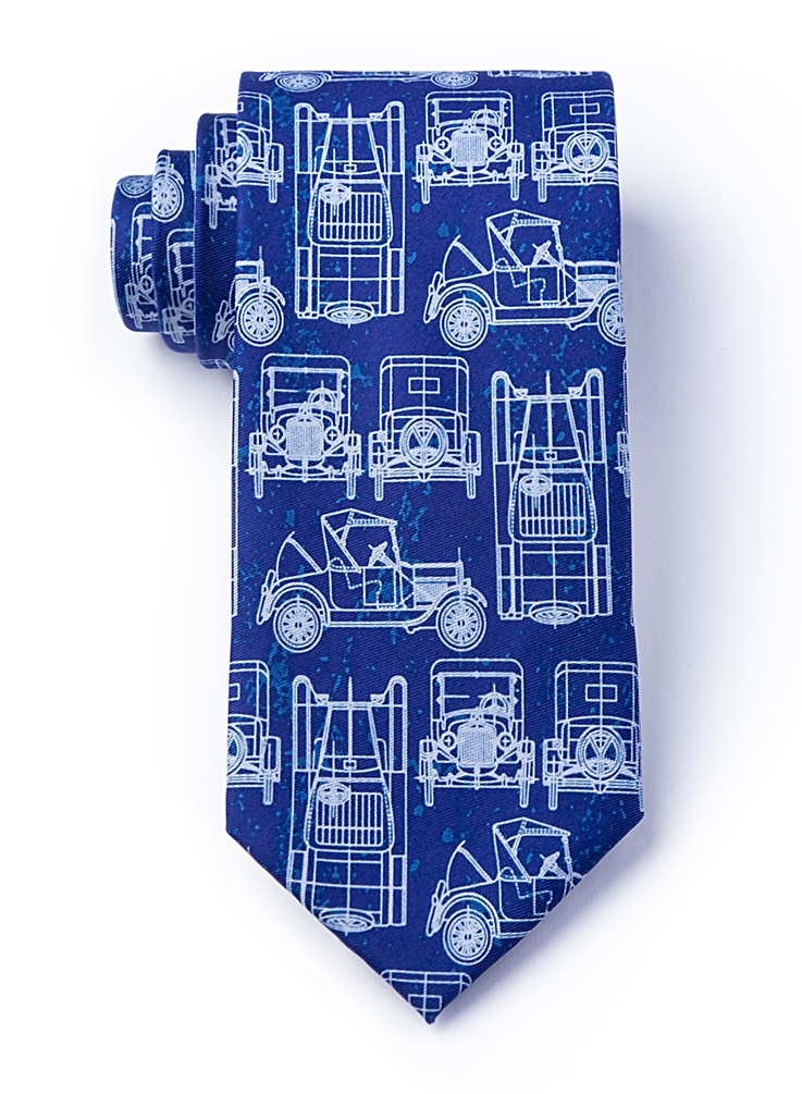 1920s Fashion for Men Ford Model T Tie by Wild Ties -  Navy Blue Microfiber $35.00 AT vintagedancer.com