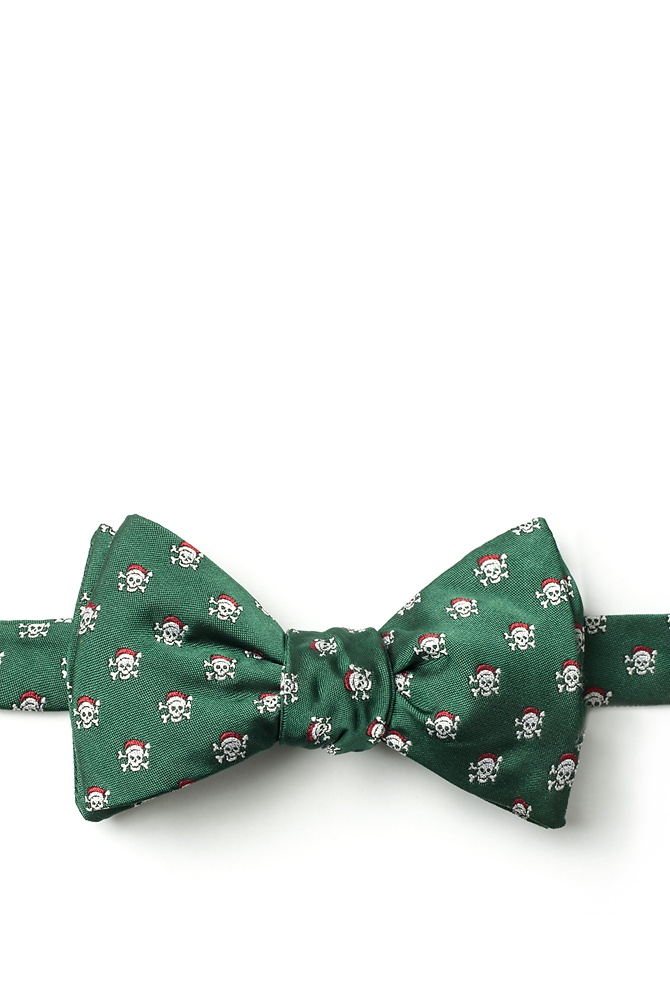 1950s Men's Clothing Christmas Skulls Self-Tie Bow Tie by Wild Ties -  Green Microfiber $7.00 AT vintagedancer.com