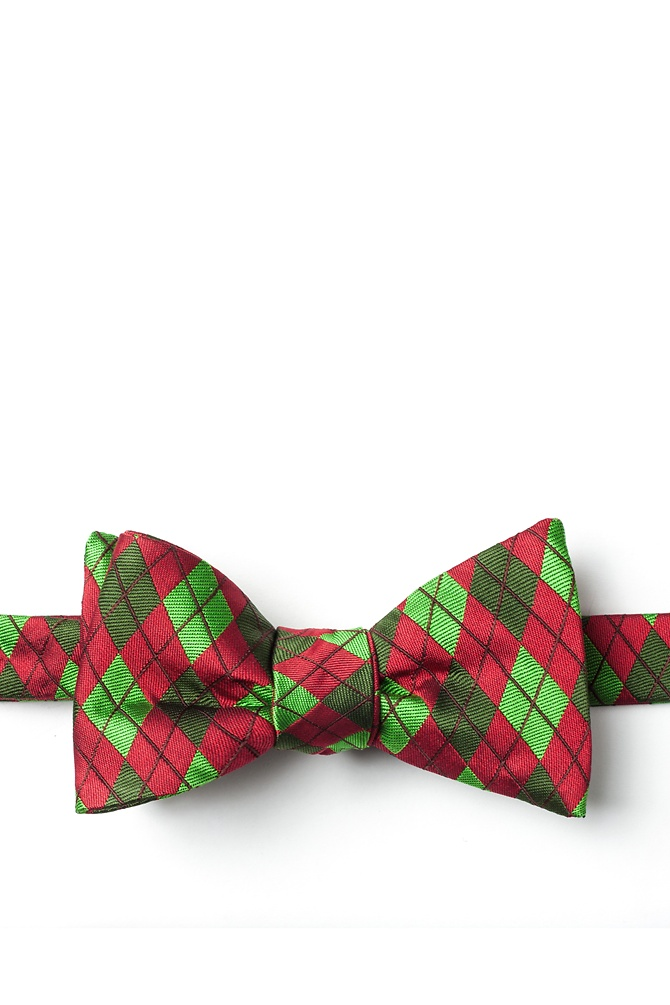 1950s Men's Clothing Christmas Argyle Self-Tie Bow Tie by Wild Ties -  Red Microfiber $35.00 AT vintagedancer.com
