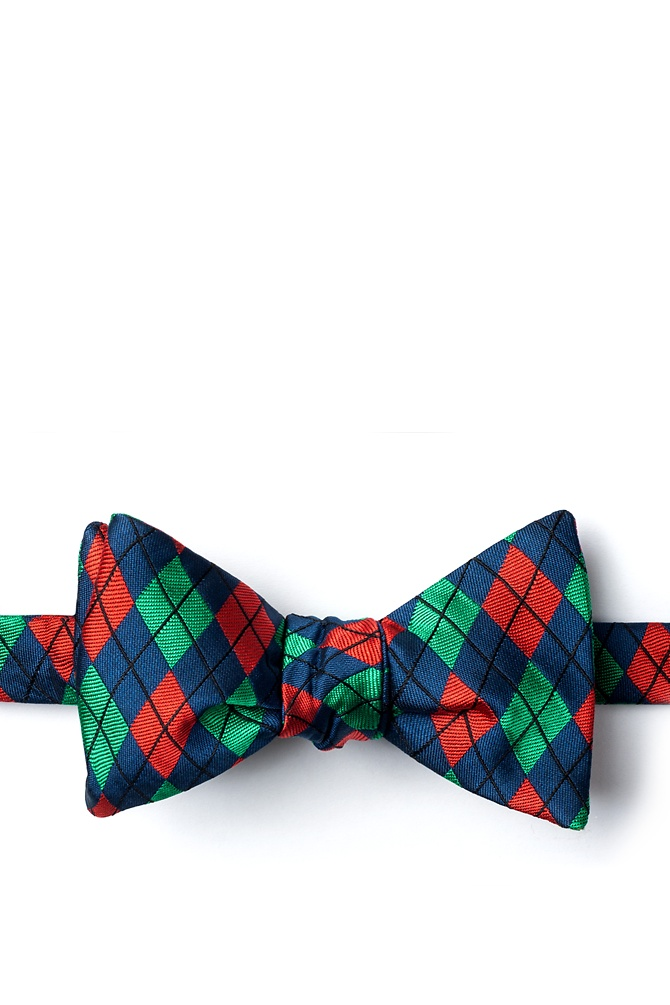 1950s Men's Clothing Christmas Argyle Self-Tie Bow Tie by Wild Ties -  Navy Blue Microfiber $35.00 AT vintagedancer.com