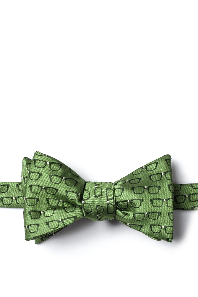 1950s Men's Clothing Four Eyes Self-Tie Bow Tie by Wild Ties -  Olive Microfiber $17.50 AT vintagedancer.com
