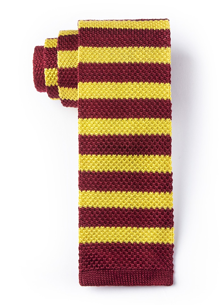 Men's 1920s Style Ties, Neck Ties & Bowties Rugby Stripe Knit Tie by Brent Morgan -  Red Silk $35.00 AT vintagedancer.com
