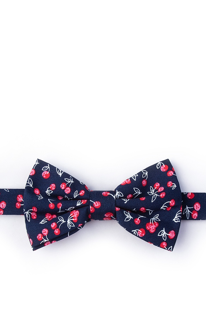 1950s Men's Clothing Cherry Pre-Tied Bow Tie by Ties.com -  Navy Blue Cotton $25.00 AT vintagedancer.com
