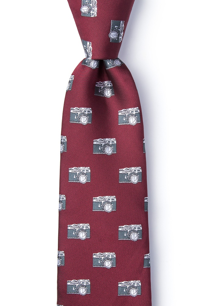 1950s Men's Clothing Vintage Cameras Tie by Wild Ties -  Burgundy Microfiber $35.00 AT vintagedancer.com
