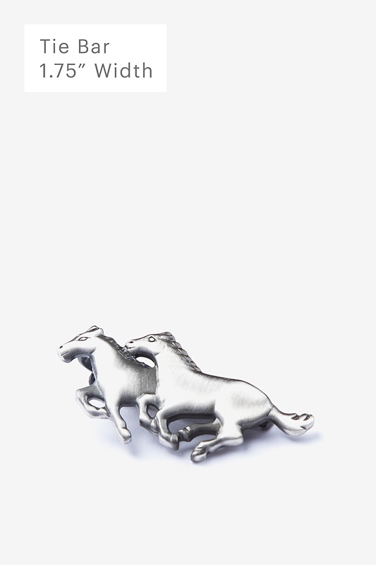Wild Horses Antiqued Silver Tie Bar