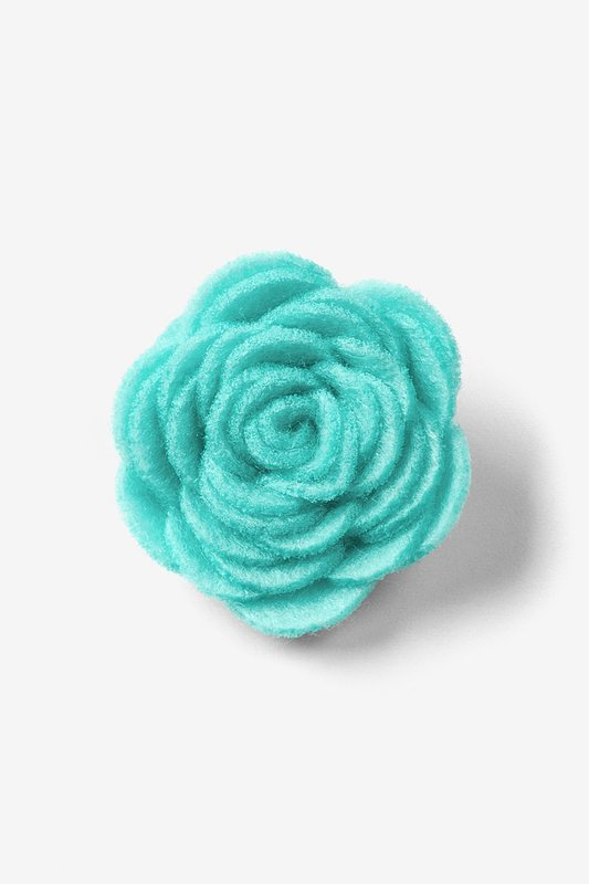 Aqua Felt Flower Lapel Pin