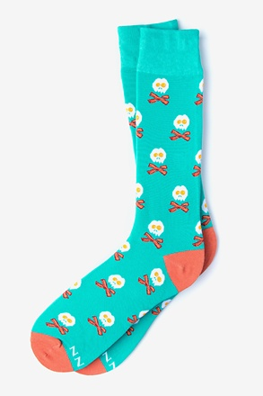 _Bacon & Eggs Breakfast Aqua Sock_