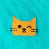 Aqua Carded Cotton Kitty Cat Sock