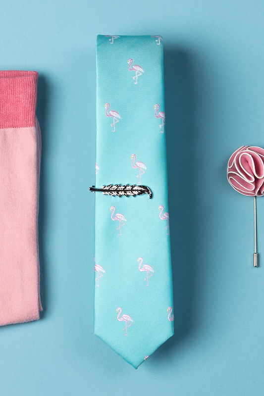 Flamingos Aqua Skinny Tie Photo (1)
