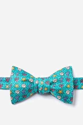 In Deep Water Aqua Self-Tie Bow Tie