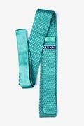 Textured Solid Aqua Knit Skinny Tie Photo (1)