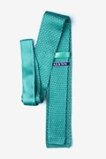 Textured Solid Aqua Knit Tie Photo (1)