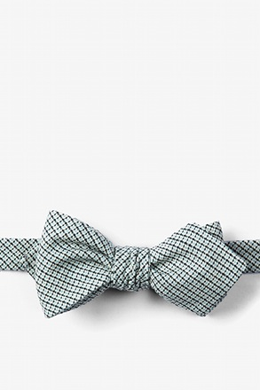 Baby Blue Andrew Plaid Diamond Tip Bow Tie