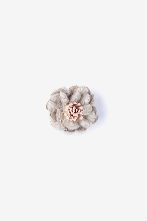 _Rustic Yarn Flower Beige Lapel Pin_