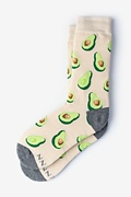 Beige Carded Cotton Guac O'Clock Women's Sock
