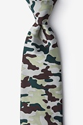 Beige Microfiber Camouflage Woodland Extra Long Tie