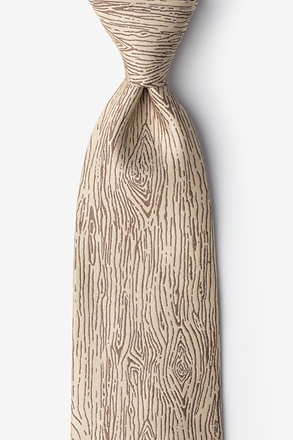 Wood Grain Beige Extra Long Tie