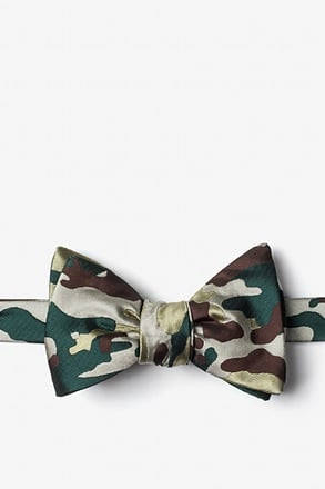 _Woodland Camo Beige Self-Tie Bow Tie_