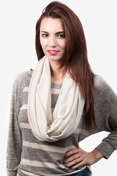 Boston Solid Beige Infinity Scarf