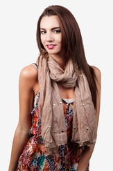 Beige Polyester Tell Me About It Stud Scarf