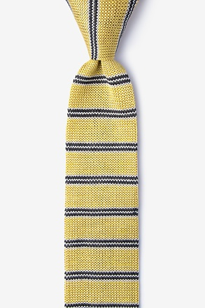 French Stripe Beige Knit Skinny Tie