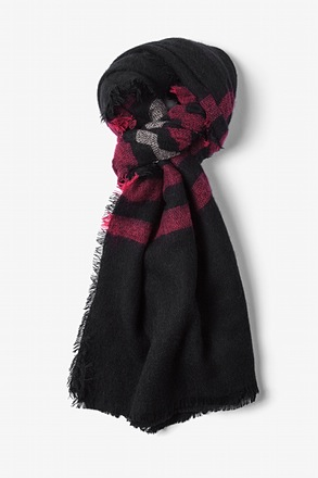 Black Atlanta Stripe Knit Scarf