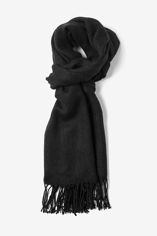 Black Calgary Fringed Scarf by Scarves.com