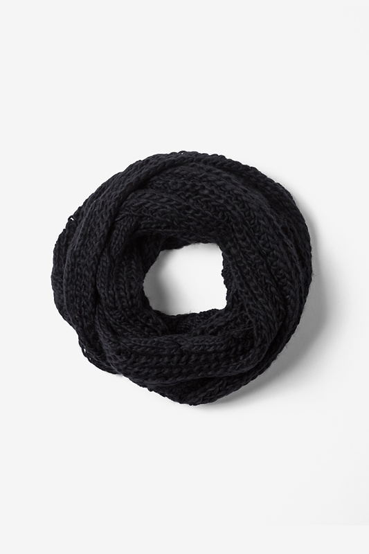 Black Geneva Cable Knit Infinity Scarf by Scarves.com