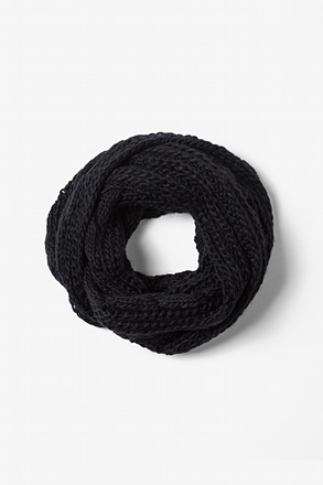 Black Geneva Cable Knit Infinity Scarf