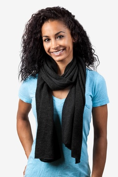 Heathered Solid Black Knit Scarf