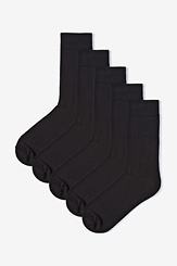 Black Carded Cotton All Black Everything 5 Pack Socks