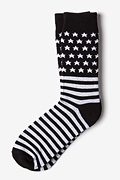 Black Carded Cotton American Flag Sock