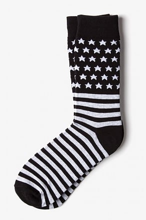 American Flag Black Sock